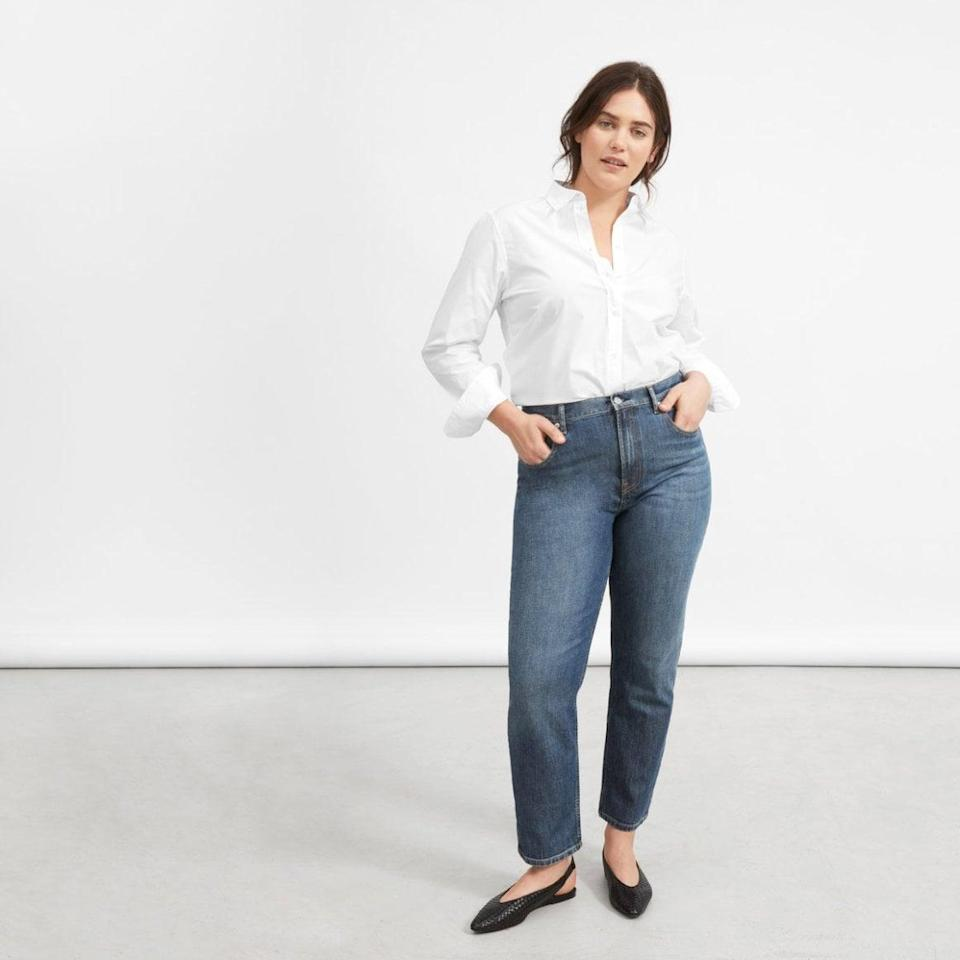 """<p>""""I basically live in my <span>Everlane The Original Cheeky Jeans</span> ($78). The high-rise fit is super flattering but doesn't cut into my sides, and the Japanese cotton denim gets super soft over time without stretching out."""" - Annalise Mantz, Associate Native Living Editor and Content Strategist</p>"""