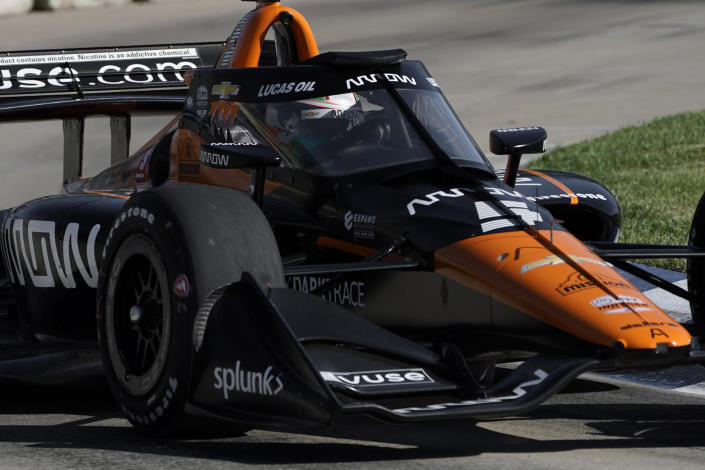 Pato O'Ward practices for the IndyCar Detroit Grand Prix auto racing doubleheader on Belle Isle in Detroit, Friday, June 11, 2021. (AP Photo/Paul Sancya)