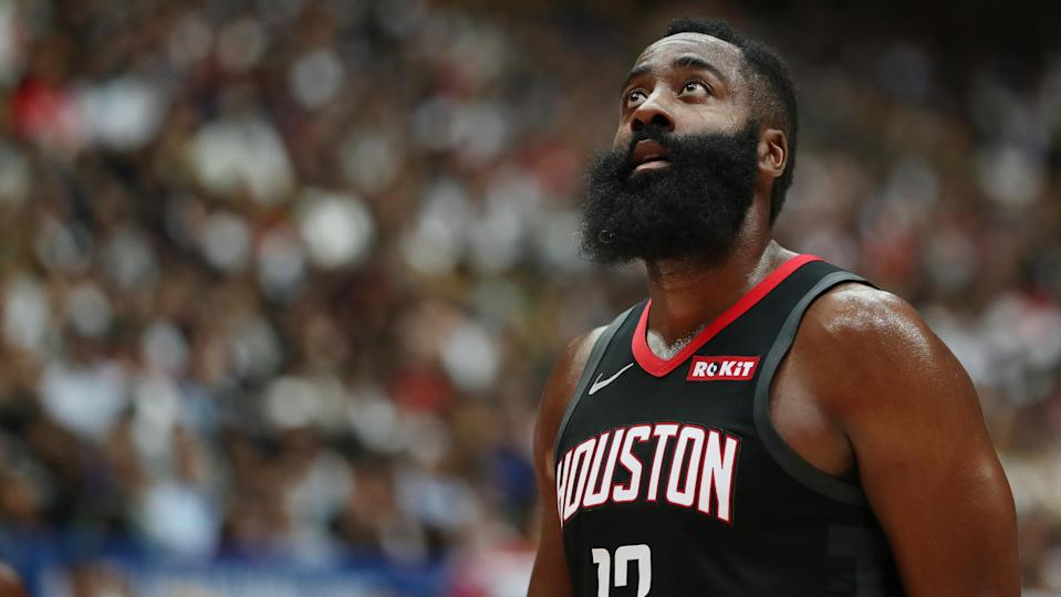 James Harden #13 of Houston Rockets looks on during the preseason match between Toronto Raptors and Houston Rockets at Saitama Super Arena on October 10, 2019 in Saitama, Japan. (Photo by Takashi Aoyama/Getty Images)