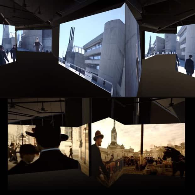 Imposter Cities is an exhibit at the Canadian pavillion of the Venice Biennale that looks at why so many films use Canadian locations to double for other international locales. In the image on the left, you can see the Exchange District in Winnipeg in the background of The Assassination of Jesse James by the Coward Robert Ford.  (Submitted by Imposter Cities  - image credit)