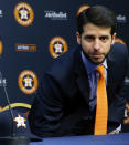 FILE - In this Jan. 17, 2018, file photo, Houston Astros Senior Director of Baseball Operations Brandon Taubman attends a baseball news conference in Houston. The Astros have fired Taubman for directing inappropriate comments at female reporters following Houstons pennant-winning victory over the New York Yankees. (Michael Ciaglo/Houston Chronicle via AP)