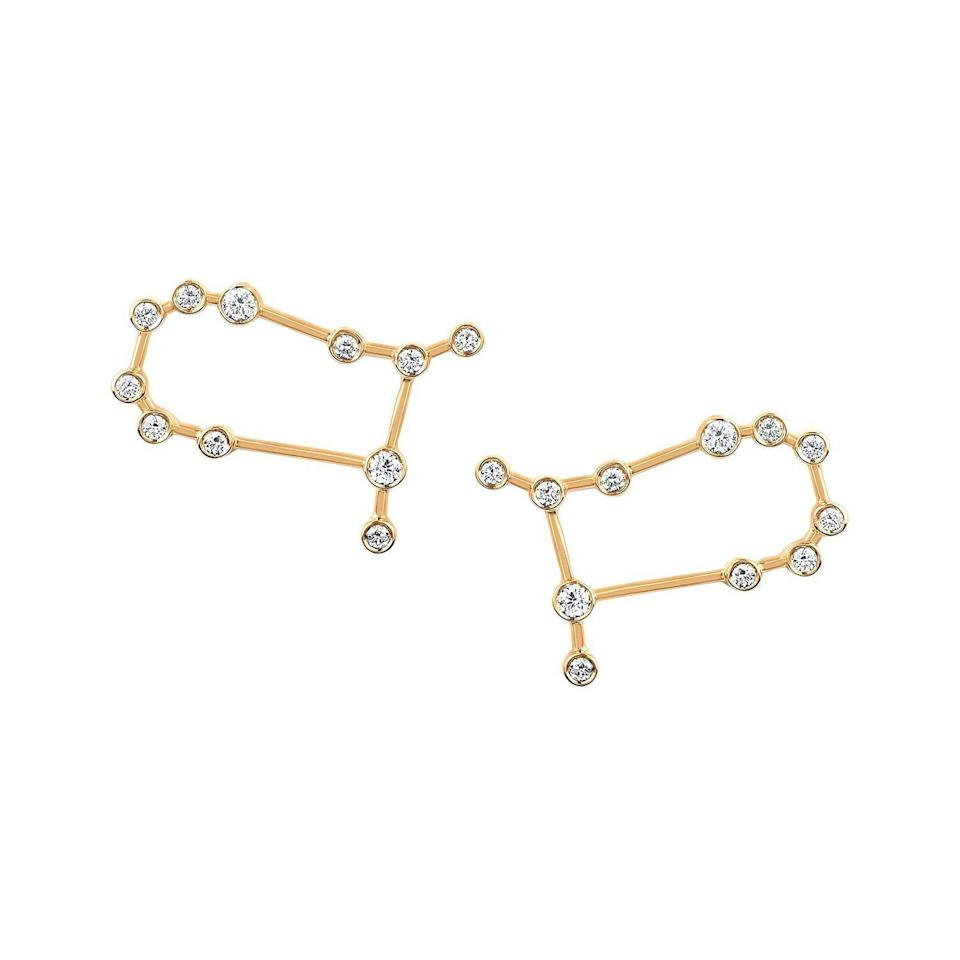 """<p><strong>Logan Hollowell</strong></p><p>loganhollowell.com</p><p><strong>$1420.00</strong></p><p><a href=""""https://www.loganhollowell.com/collections/earrings-1/products/new-gemini-diamond-constellation-studs"""" rel=""""nofollow noopener"""" target=""""_blank"""" data-ylk=""""slk:Shop Now"""" class=""""link rapid-noclick-resp"""">Shop Now</a></p><p>""""Logan Hollowell creates the most beautiful zodiac pieces using the constellations themselves. The pieces are constructed with Mother Earth in mind by utilizing recycled gold and ethically sourced stones to create a modern heirloom you will wear everyday.""""—<em>Cassandra Hogan, Fashion Assistant</em></p>"""