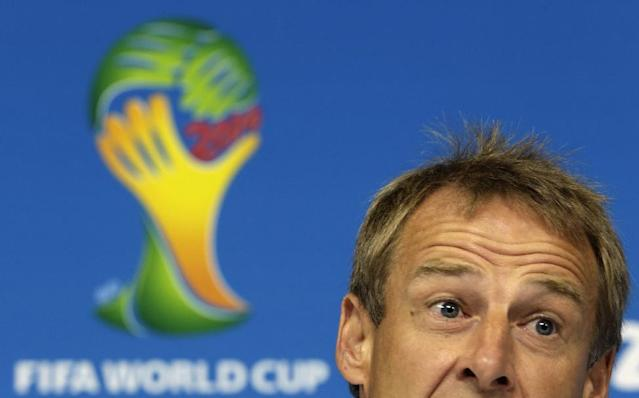 United States' head coach Jurgen Klinsmann attends a press conference before a training session in Recife, Brazil, Wednesday, June 25, 2014. The U.S. will play Germany in group G of the 2014 soccer World Cup on June 26. (AP Photo/Julio Cortez)