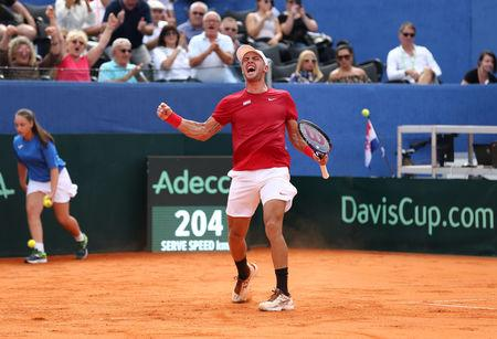 Through the legs: Coric's 'tweener' draws bows at Davis Cup