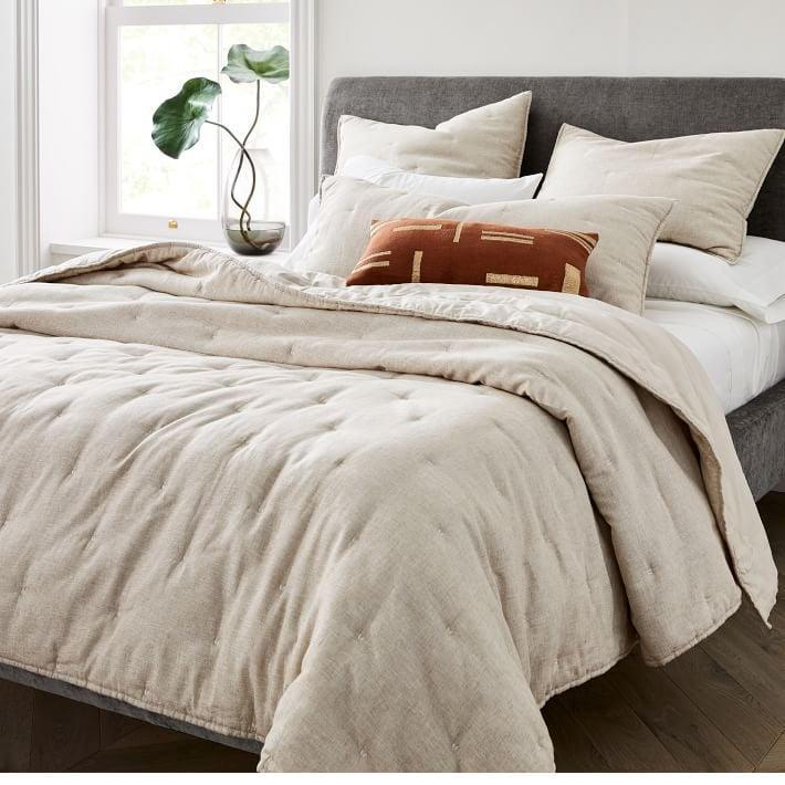 <p>You'll feel warm and safe with the <span>Belgian Flax Linen Cotton Metallic Quilt & Shams</span> ($136, originally $170).</p>