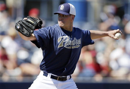 San Diego Padres starting pitcher Clayton Richard throws against the Los Angeles Angels during the second inning in an exhibition spring training baseball game Wednesday, March 13, 2013, in Peoria, Ariz. (AP Photo/Gregory Bull)