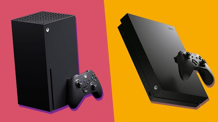 A side-by-side comparison of the new Xbox Series X (left) and the older Xbox One (right).