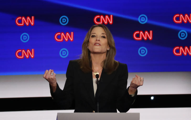 Marianne Williamson participates in the first of two Democratic presidential primary debates hosted by CNN Tuesday, July 30, 2019, in the Fox Theatre in Detroit. | Paul Sancya—AP