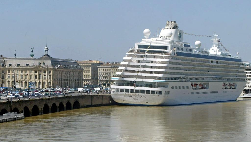 Thanks to climate change, luxury cruise ship Crystal Serenity (pictured in Bordeaux) has undertaken a pioneering journey that will see it sail through the once impassable Northwest Passage (AFP Photo/Michel Gangne)