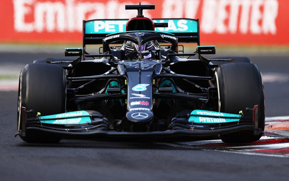 Lewis Hamilton of Great Britain driving the (44) Mercedes AMG Petronas F1 Team Mercedes W12 during the F1 Grand Prix of Hungary at Hungaroring on August 01, 2021 in Budapest, Hungary. - Lars Baron/Lars Baron