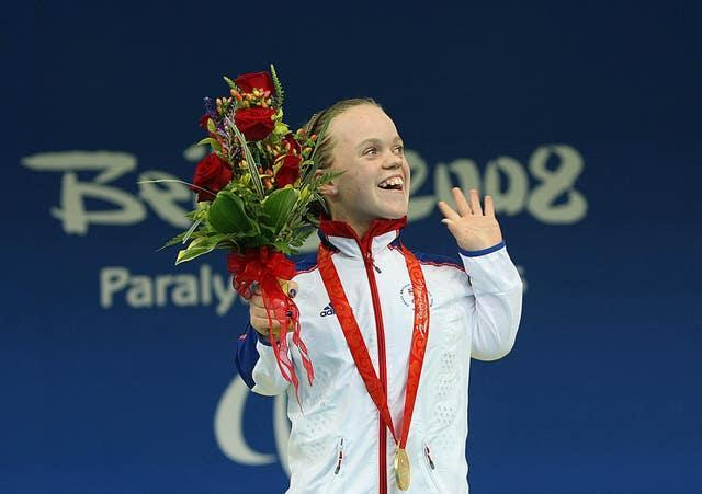 Ellie Simmonds celebrates with her 400m freestyle gold medal in Beijing