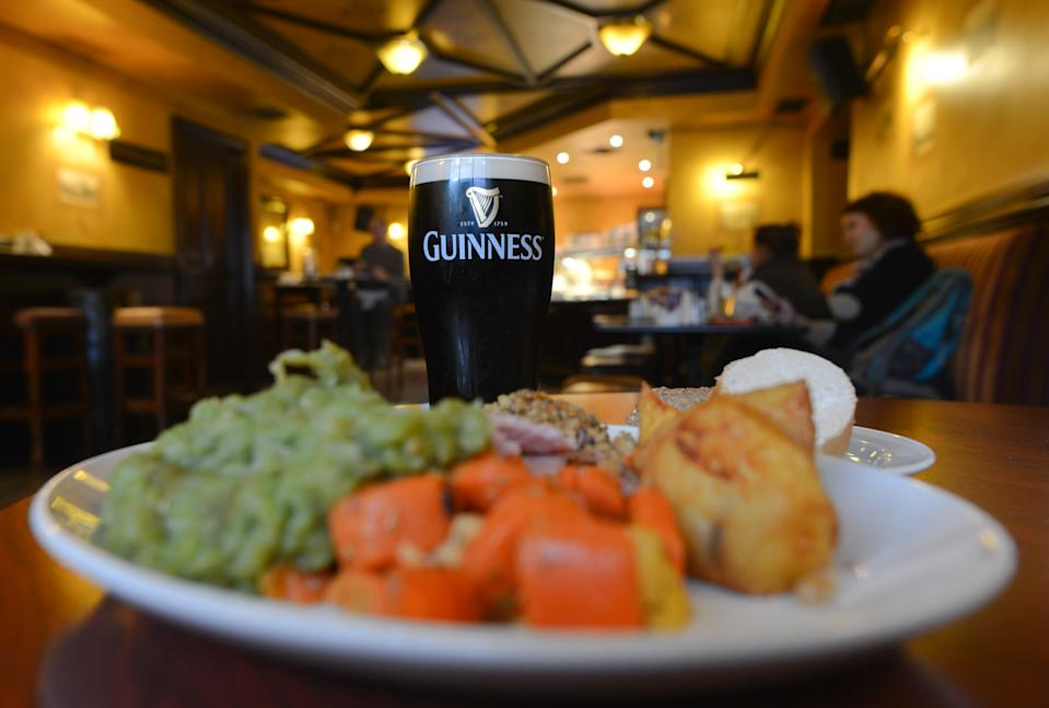 A pint of Guinness and a roast dinner in The Duke Pub in Dublin, Ireland. (Photo by Artur Widak/NurPhoto via Getty Images)