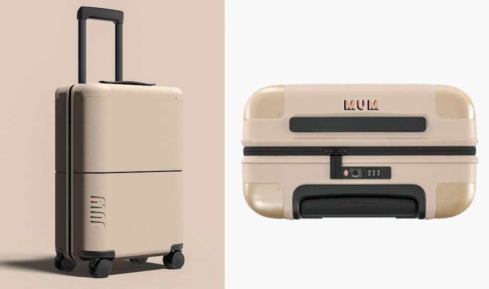 Monogrammed carry-on suitcase. Photo: July