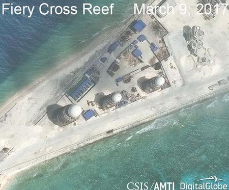 Handout of construction is shown on Fiery Cross Reef, in the Spratly Islands, the disputed South China Sea