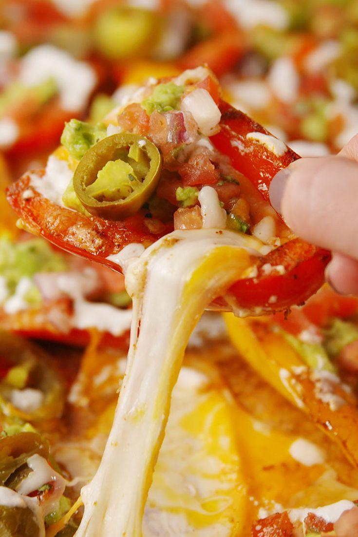 "<p>You won't miss the chips in these low-carb veggie nachos.</p><p>Get the recipe from <a href=""https://www.delish.com/cooking/recipes/a52650/bell-pepper-nachos-recipe/"" rel=""nofollow noopener"" target=""_blank"" data-ylk=""slk:Delish"" class=""link rapid-noclick-resp"">Delish</a>.</p>"