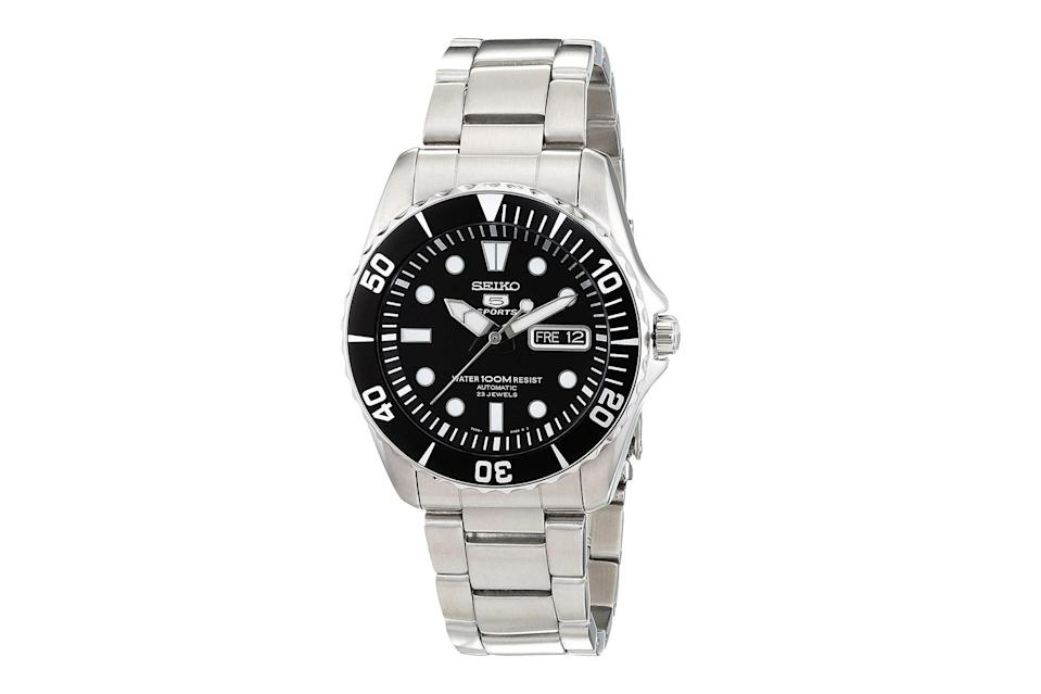 "$250, Amazon. <a href=""https://www.amazon.com/Seiko-Black-Stainless-Automatic-SNZF17/dp/B001IBF15Y/ref=sr_1_17?s=apparel&ie=UTF8&qid=1545084102&sr=1-17&nodeID=6358539011&psd=1&keywords=seiko+5"" rel=""nofollow noopener"" target=""_blank"" data-ylk=""slk:Get it now!"" class=""link rapid-noclick-resp"">Get it now!</a>"