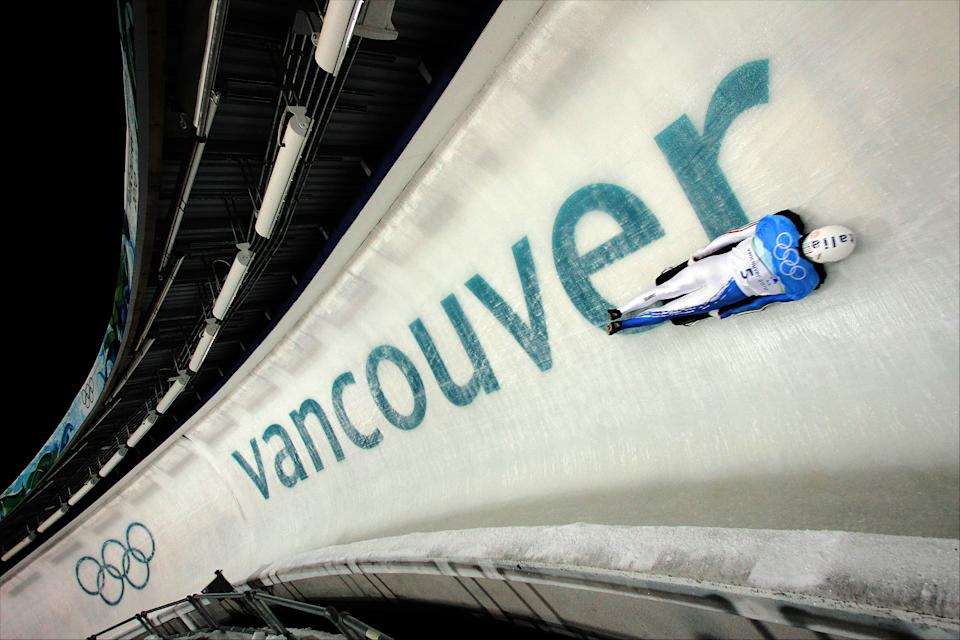 WHISTLER, BC - FEBRUARY 18: Nicola Drocco of Italy competes in the men's skeleton run 1 on day 7 of the 2010 Vancouver Winter Olympics at The Whistler Sliding Centre on February 18, 2010 in Whistler, Canada. (Photo by Ian MacNicol/Getty Images)