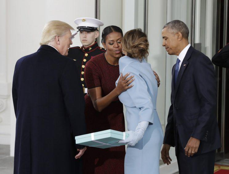 Melania Trump brought a gift from Tiffany & Co. to the White House on Inauguration Day. (Photo: AP)
