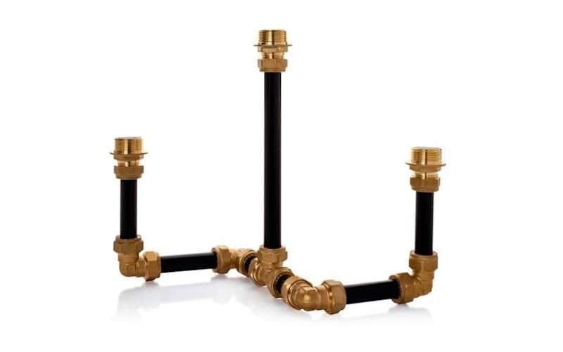 Pipework candelabra in Three Black, £65 (Wolf and Badger)