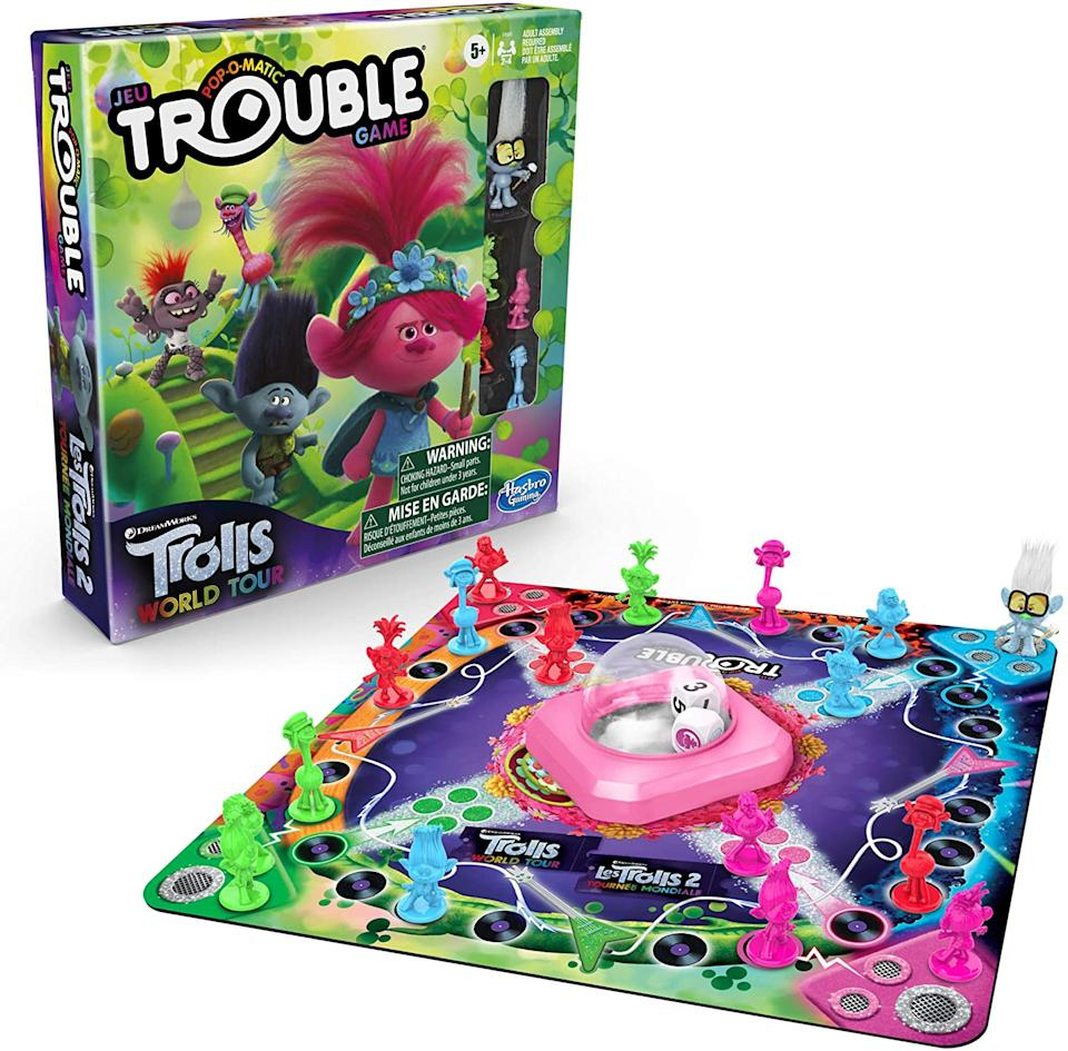Trouble: DreamWorks Trolls World Tour Edition Board Game. Image via Amazon.
