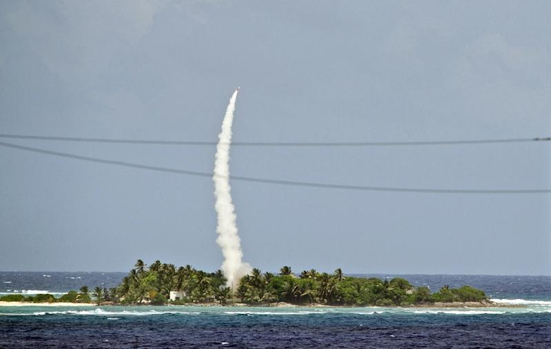A Patriot Advanced Capability 3 (PAC-3) interceptor missile being launched during a test in the Pacific in 2012