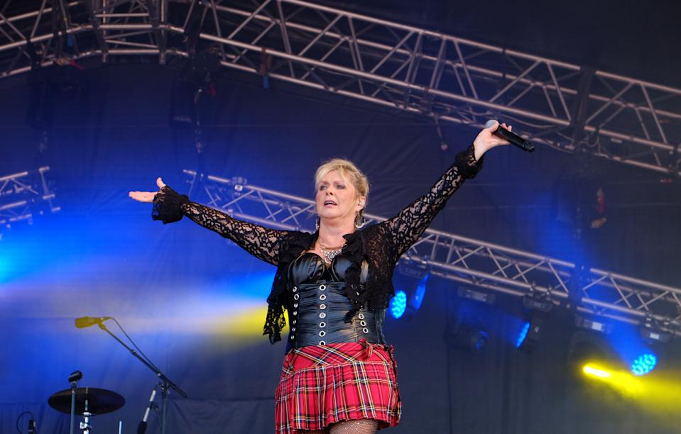 Cheryl Baker of Bucks Fizz performing at South Tyneside Festival in Bents Park, South Shields. (Photo by Owen Humphreys/PA Images via Getty Images)