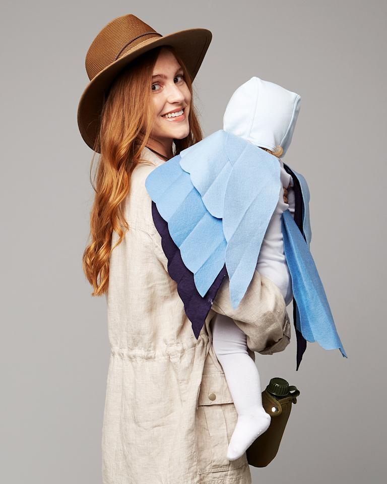 <p>As an avid birdwatcher, your little bird is never far from sight with a pair of binoculars. Other than the hat and a canteen (available at camping-supply stores), this costume can be assembled entirely from clothes from your closet. Choose an outfit that consists of neutral, outdoorsy pieces, such as the safari-style jacket and brown pants shown, and don't forget a pair of sensible shoes. For the bluebird costume, use our pattern and basic sewing supplies to create a pair of detachable wings.</p>