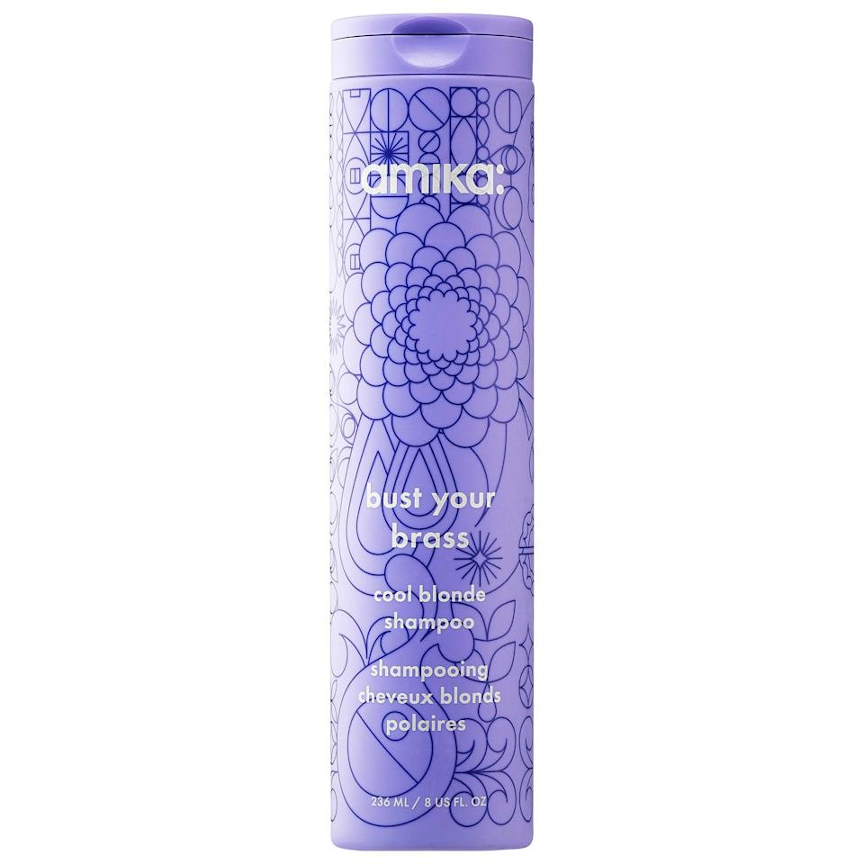 <p>The ultraviolet <span>Amika Bust Your Brass Cool Blonde Shampoo</span> ($20) delivers bright, shiny results. It's ideal for cool-toned gray, silver, and icy shades of blond. It's also nourishing thanks to proteins, amino acids, minerals, and vitamins A, D, E, and B in the formula.</p>