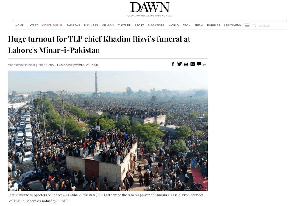 """<div class=""""paragraphs""""><p>Screengrab from the website of Pakistan based Dawn. </p></div>"""