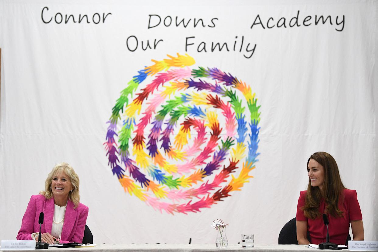US First Lady Jill Biden (L) and Britain's Catherine, Duchess of Cambridge take part in a round table discussion during her visit to Connor Downs Academy in Hayle, Cornwall on the sidelines of the G7 summit on June 11, 2021. (Photo by DANIEL LEAL-OLIVAS / various sources / AFP) (Photo by DANIEL LEAL-OLIVAS/AFP via Getty Images)