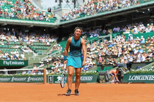 Italy's Sara Errani lost at Roland Garros on May 27 and had her doping ban increased on Monday. (AFP Photo/CHRISTOPHE ARCHAMBAULT )