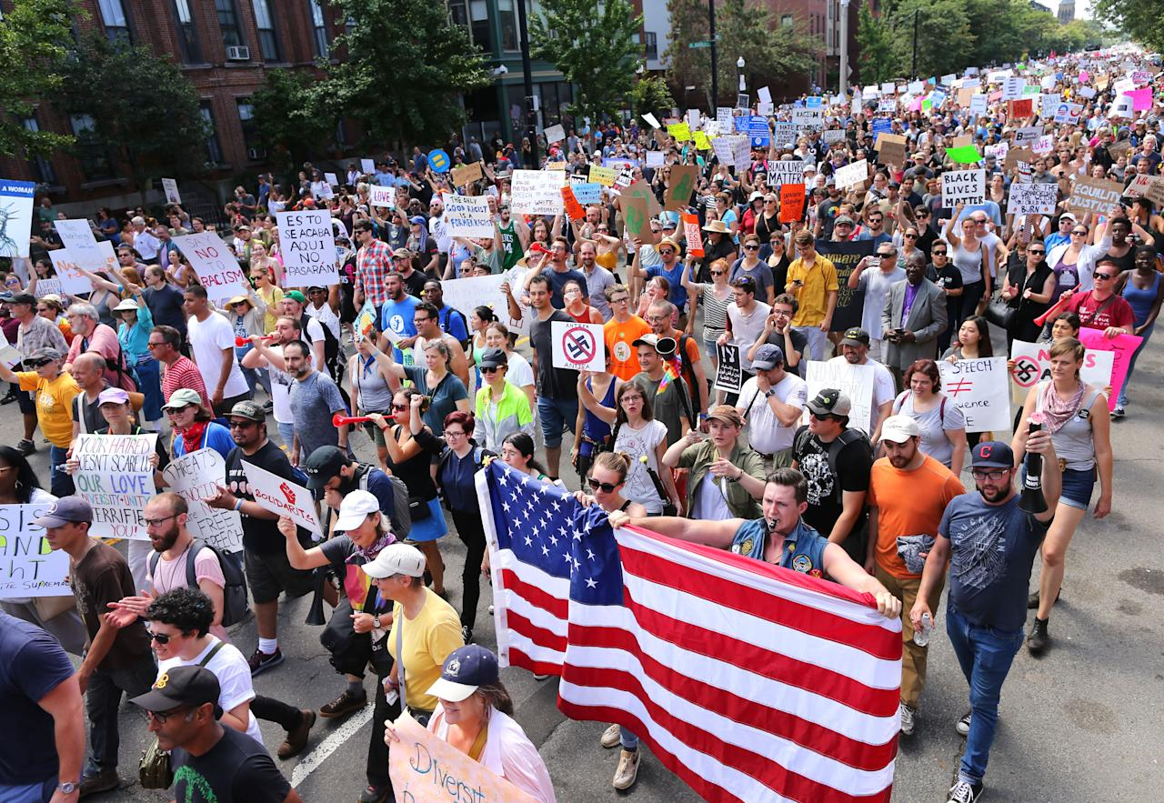 "Counterprotesters march down Tremont Street heading toward the Boston Common for the ""Boston Free Speech"" rally and counterprotest in Boston, Aug. 19, 2017. (Photo: John Tlumacki/The Boston Globe via Getty Images)"