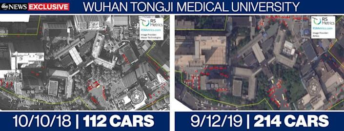 The number of cars at one hospital, Tongji, was almost double in 2019 compared to a similar period the year before - ABC News
