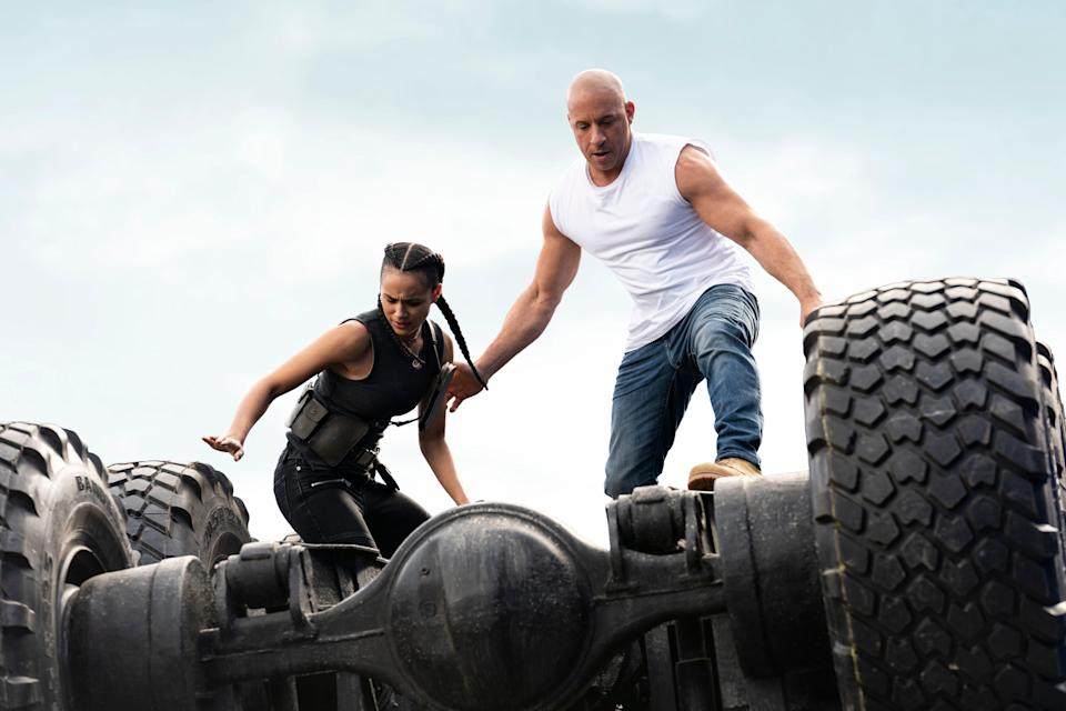 """Ramsey (Nathalie Emmanuel) and Dom (Vin Diesel) return for another mission to save the world in """"F9,"""" the ninth installment in the """"Fast and Furious"""" movie series."""