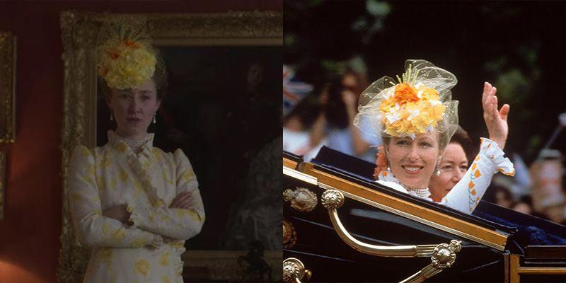 <p>When it comes to royal weddings, every royal family member's outfit is memorable. That could be why the show went into painstaking detail to replicate the look Princess Anne wore to her brother's nuptials, from the orange netted fascinator to the ruffled sleeves. </p>