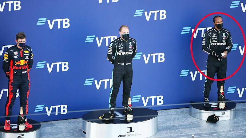 Lewis Hamilton, pictured here after finishing third in the Russian Grand Prix.