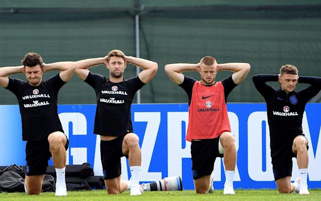 England's Harry Maguire, Gary Cahill, Eric Dier and Kieran Trippier prepare for the Tunisia match in St Petersburg before flying to Volgograd on Sunday - AFP