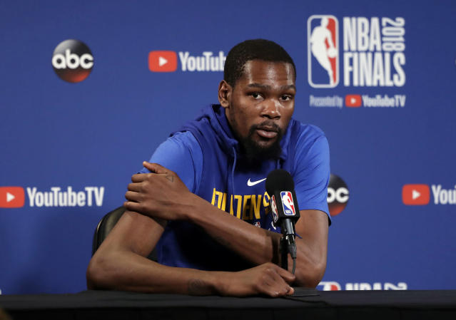 Kevin Durant was short in his comments on Bryan Colangelo's alleged burner Twitter accounts. (AP)