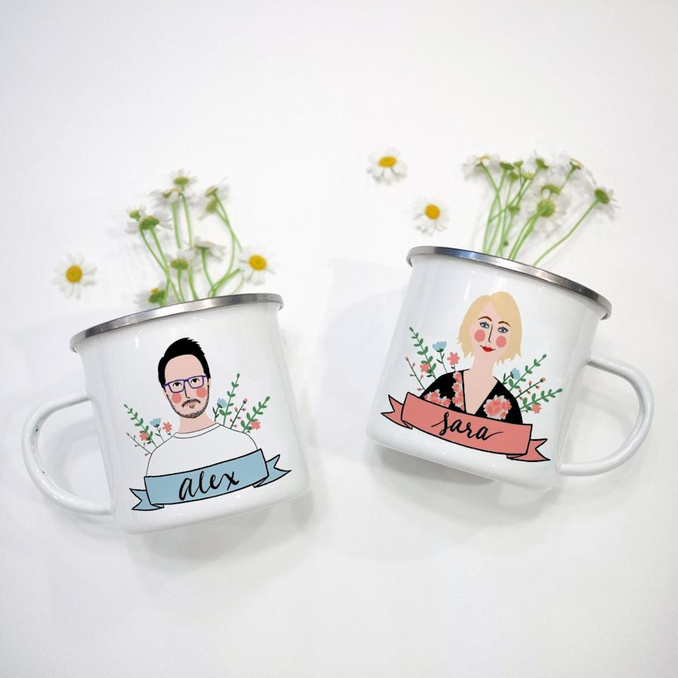 """<h2><a href=""""https://fave.co/2TemsHD"""" rel=""""nofollow noopener"""" target=""""_blank"""" data-ylk=""""slk:Couple Portrait Mug Set"""" class=""""link rapid-noclick-resp"""">Couple Portrait Mug Set</a></h2><br>Each cup is made to order and hand-drawn for the ultimate personal gift experience. What better way to show your love for someone than by putting their face on a mug? <br><br><strong>Avonnie Studio</strong> Couple Portrait Mug Set, $, available at <a href=""""https://go.skimresources.com/?id=30283X879131&url=https%3A%2F%2Ffave.co%2F2TemsHD"""" rel=""""nofollow noopener"""" target=""""_blank"""" data-ylk=""""slk:Etsy"""" class=""""link rapid-noclick-resp"""">Etsy</a>"""