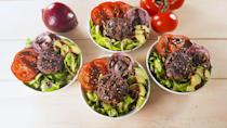 """<p>You'll be amazed by how hearty these are.</p><p>Get the recipe from <a href=""""https://www.delish.com/cooking/recipe-ideas/a20066889/california-burger-bowls-recipe/"""" rel=""""nofollow noopener"""" target=""""_blank"""" data-ylk=""""slk:Delish"""" class=""""link rapid-noclick-resp"""">Delish</a>. </p>"""