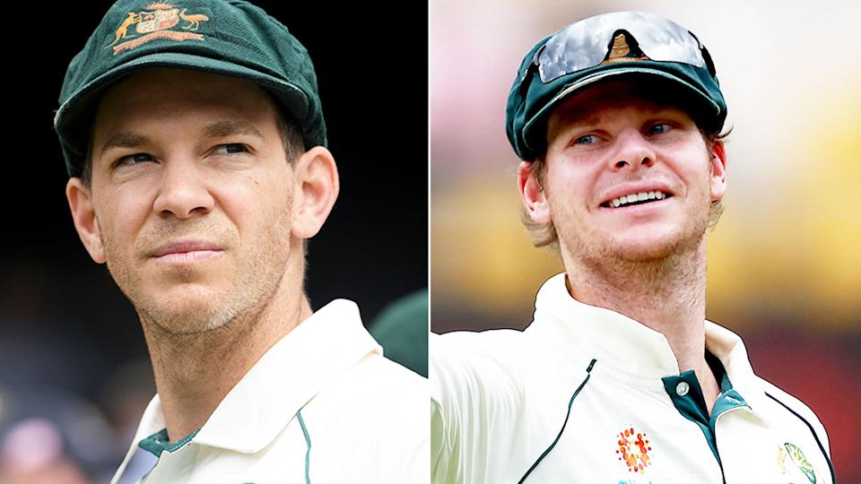 Pictured here, current and former Australia cricket captains Tim Paine and Steve Smith.
