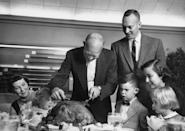 """<p>A grinning President Eisenhower slices into the holiday table's main event in 1953. Not long before, he had received a living turkey as a gift from the Poultry and Egg National Board, and apparently a pardon was the furthest thing from his mind. Records at the Dwight D. Eisenhower Library reveal its final destination: """"Turkey to be dressed,"""" then delivered to the president's table. Archivist Tammy Kelly told <a href=""""http://www.washingtonpost.com/wp-dyn/content/article/2007/11/20/AR2007112002331_2.html?sid=ST2007112002354"""" rel=""""nofollow noopener"""" target=""""_blank"""" data-ylk=""""slk:The Washington Post"""" class=""""link rapid-noclick-resp"""">The Washington Post</a>, """"The Trumans were not animal people."""" <i>(Photo: George Skadding/Getty Images)</i></p>"""