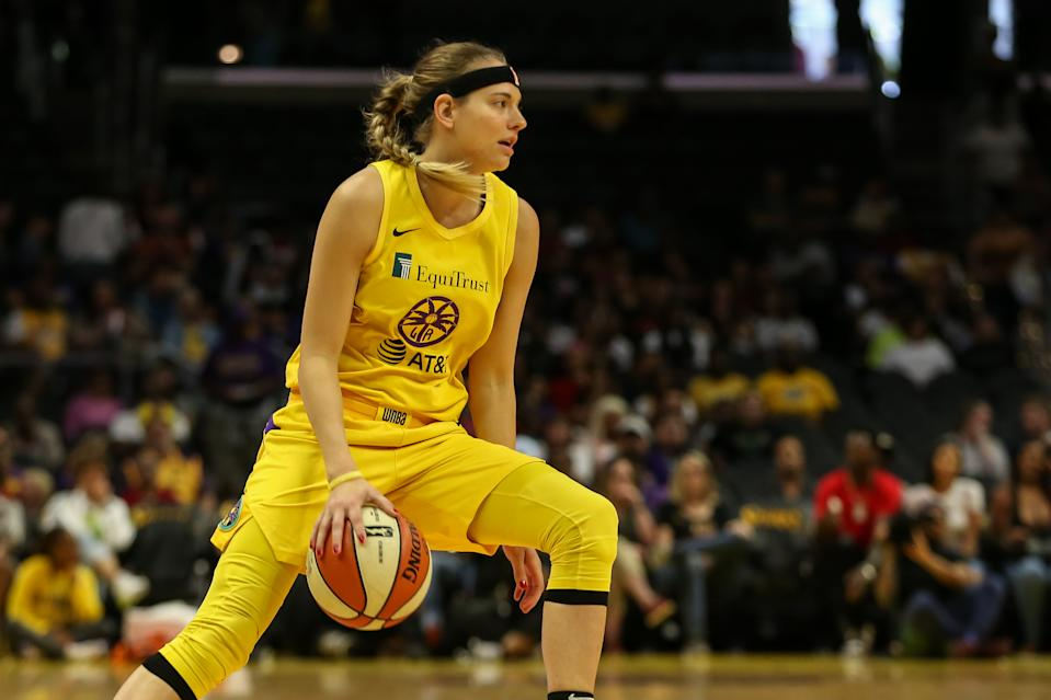 Los Angeles Sparks guard Sydney Wiese #24 dribbling during the Connectiut Sun vs Los Angeles Sparks on August 25, 2019, at Staples Center in Los Angeles, CA. (Photo by Jevone Moore/Icon Sportswire via Getty Images)