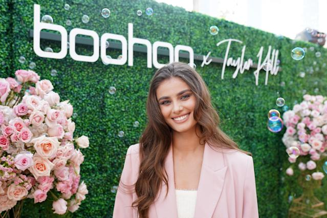 American model Taylor Hill attends a Boohoo tea party at the Beverly Hills Hotel in California, US. Photo: Presley Ann/Getty Images for Boohoo.com