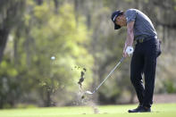 Collin Morikawa hits from the ninth fairway during the final round of the Workday Championship golf tournament Sunday, Feb. 28, 2021, in Bradenton, Fla. (AP Photo/Phelan M. Ebenhack)