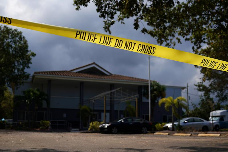 Police tape surrounds the Rehabilitation Center at Hollywood Hills in Hollywood, Florida, Sept. 13, 2017. (Carlo Allegri / Reuters)