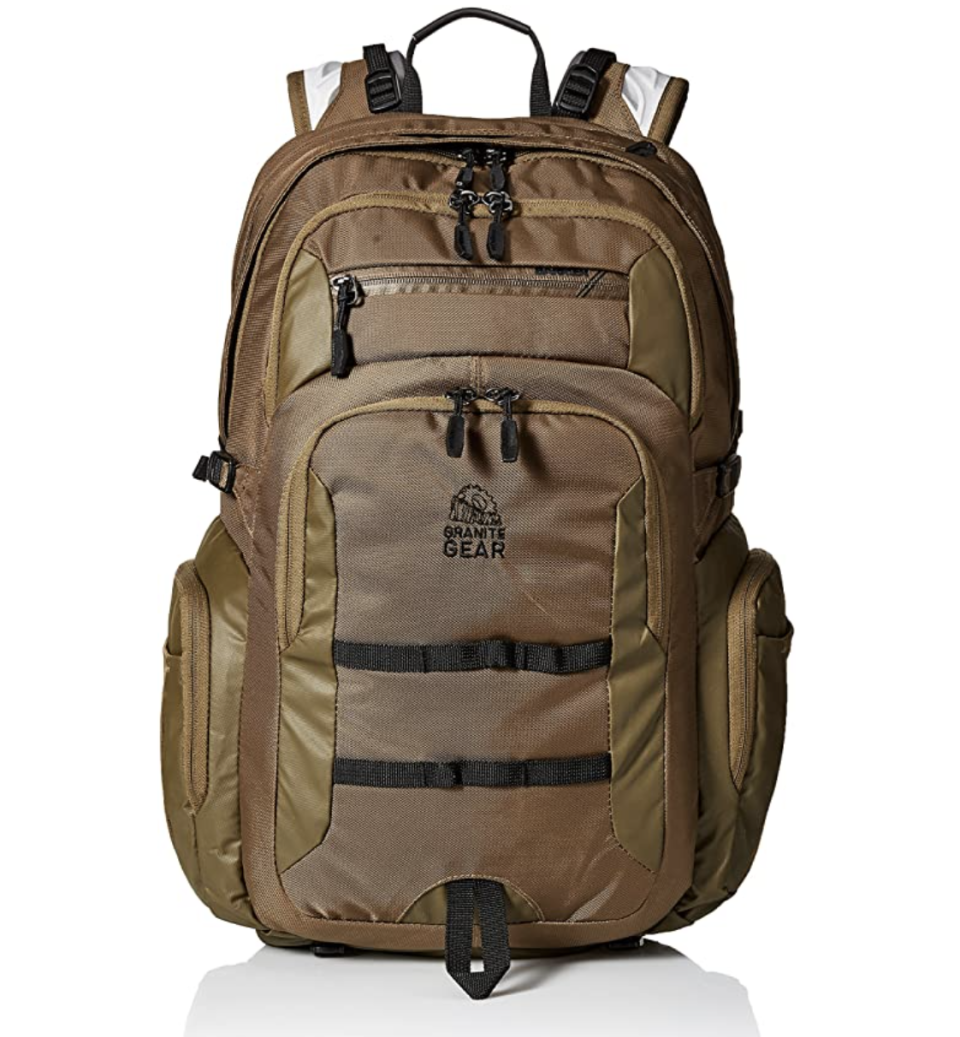 """<p><strong>Granite Gear</strong></p><p>amazon.com</p><p><strong>$59.99</strong></p><p><a href=""""https://www.amazon.com/dp/B06ZXXDHMH?tag=syn-yahoo-20&ascsubtag=%5Bartid%7C10055.g.27508273%5Bsrc%7Cyahoo-us"""" rel=""""nofollow noopener"""" target=""""_blank"""" data-ylk=""""slk:Shop Now"""" class=""""link rapid-noclick-resp"""">Shop Now</a></p><p>Granite Gear is originally a backpack brand for <a href=""""https://www.goodhousekeeping.com/life/parenting/g27287900/best-camping-games-activities/"""" rel=""""nofollow noopener"""" target=""""_blank"""" data-ylk=""""slk:hiking and camping,"""" class=""""link rapid-noclick-resp"""">hiking and camping,</a> but they make backpacks for college students too! What makes these backpacks different is the brand's unique technology: the shoulder harness, sternum strap, waist belt and back panel work together to help make <strong>heavy loads feel easier to carry</strong>.</p>"""