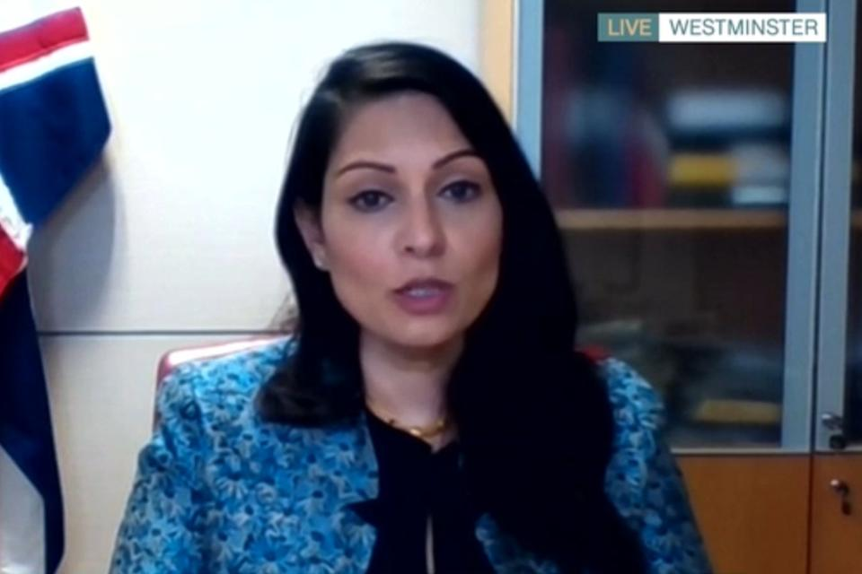 <p>Priti Patel said people should exercise alone when outdoors</p> (ITV's This Morning)