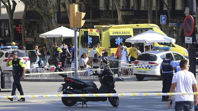 <p>A van veered onto a promenade Thursday and barreled down the busy walkway in central Barcelona, swerving back and forth as it mowed pedestrians down and turned a picturesque tourist destination into a bloody killing zone. Thirteen people were killed and 100 were injured, 15 of them seriously, in what authorities called a terror attack. </p>