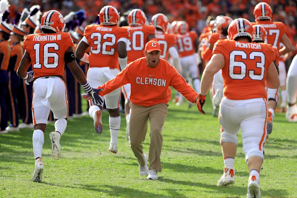 CLEMSON, SOUTH CAROLINA - NOVEMBER 16: Head coach Dabo Swinney of the Clemson Tigers reacts with players before their game against the Wake Forest Demon Deacons at Memorial Stadium on November 16, 2019 in Clemson, South Carolina. (Photo by Streeter Lecka/Getty Images)